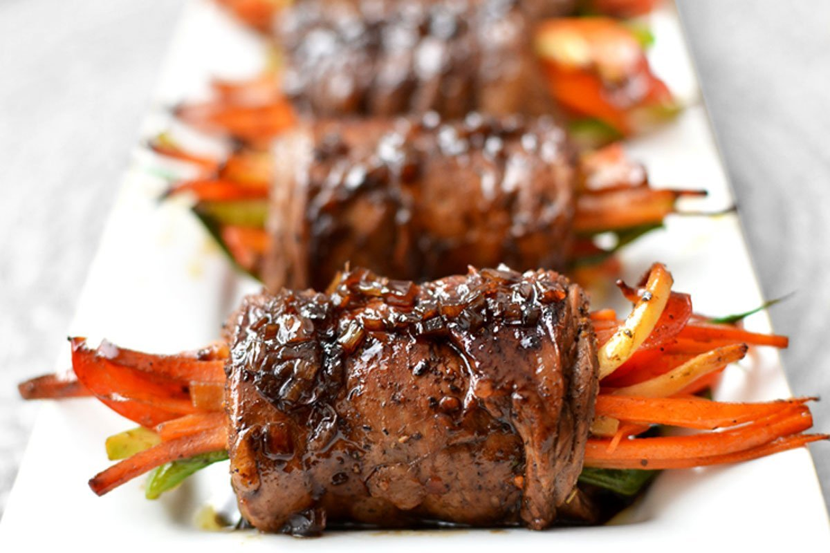 Steak Wrapped Vegetable Rolls