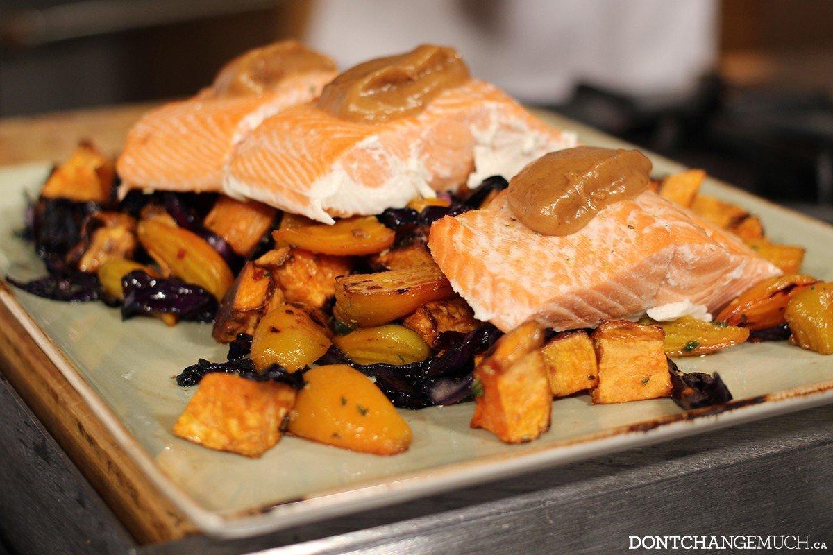 Salmon, roast veggies & special sauce