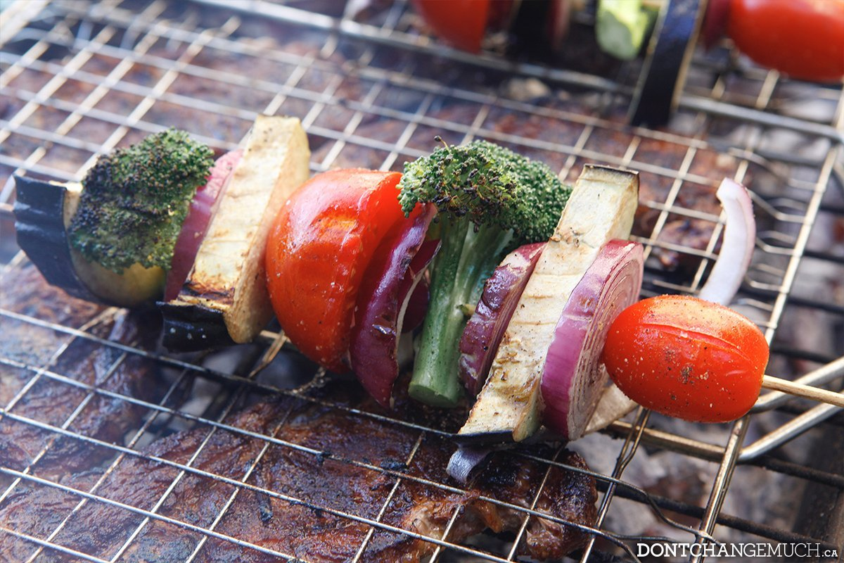 Grilled Broccoli and Tomato Kebabs with Garlic Herb Sauce