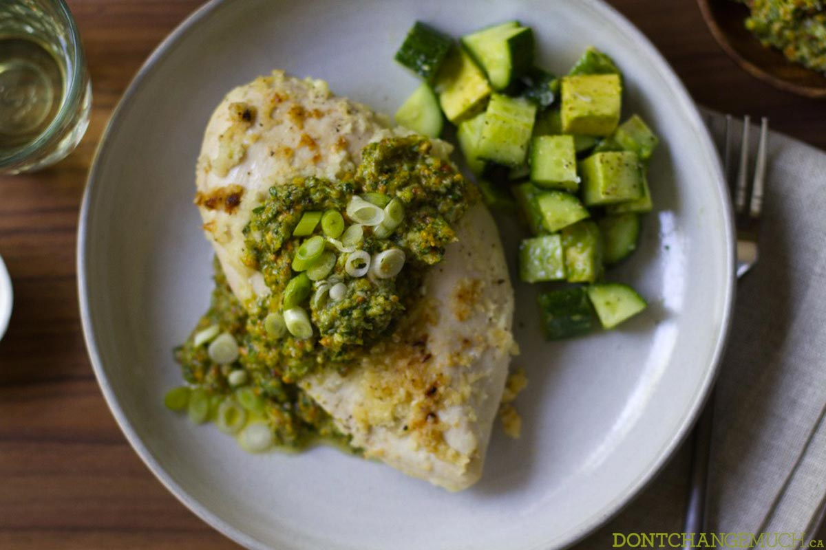 Super Easy Pesto Baked Chicken
