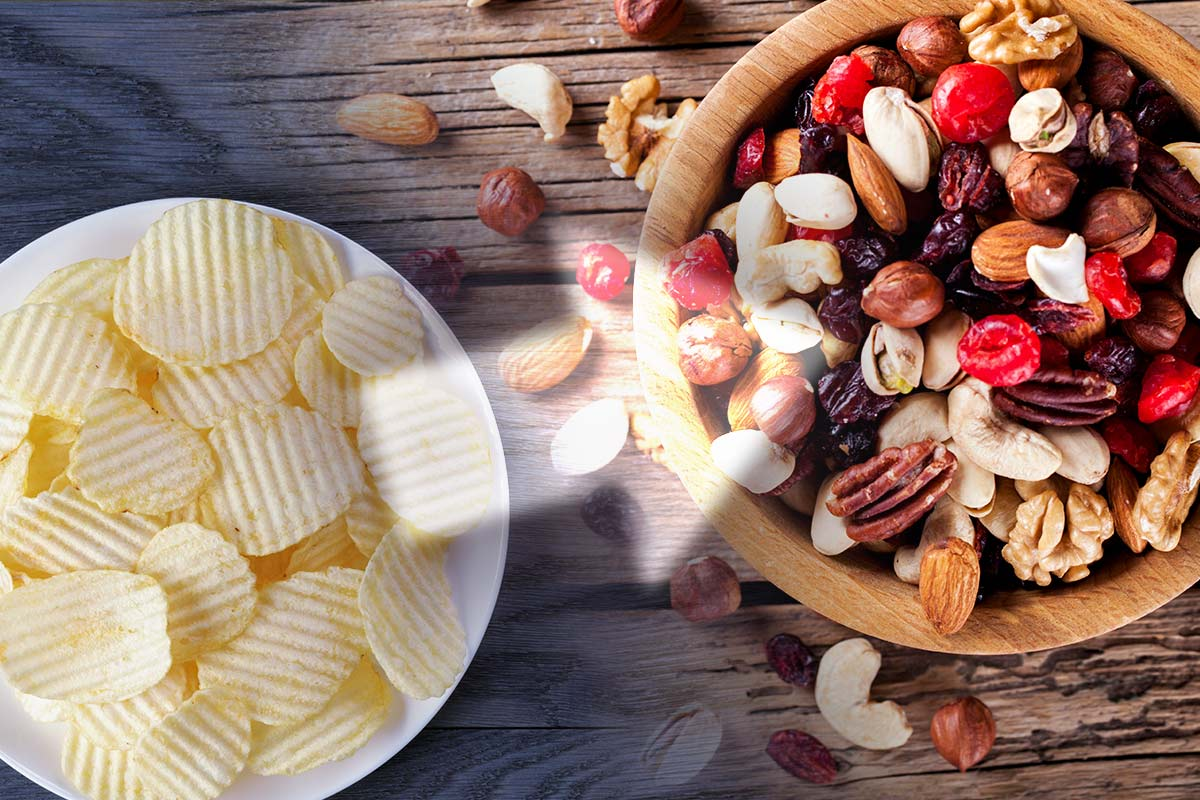 Eat nuts instead of chips for healthy fats, more nutrients, and less salt
