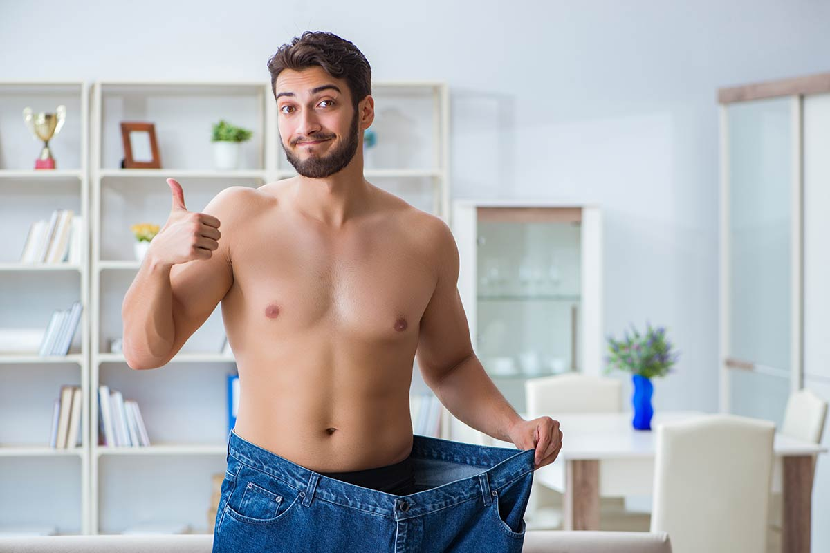 Man extremely proud of having lost many inches on his waist