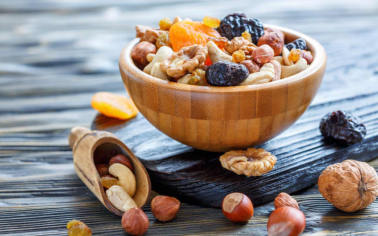 Delicious bowl of nuts and fruit