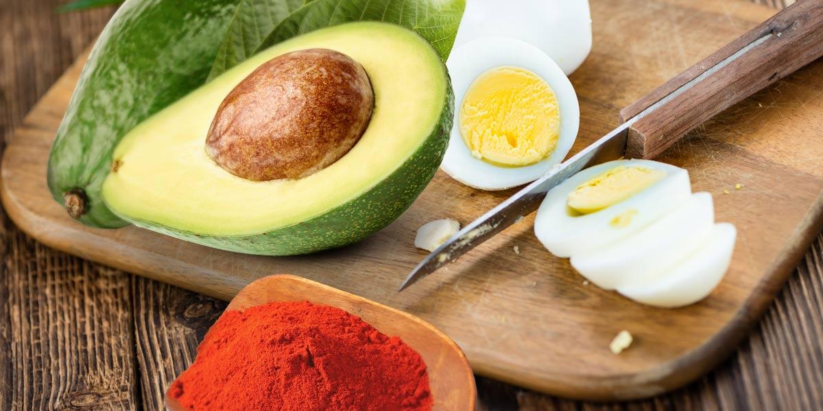 avocado, eggs, and paprika