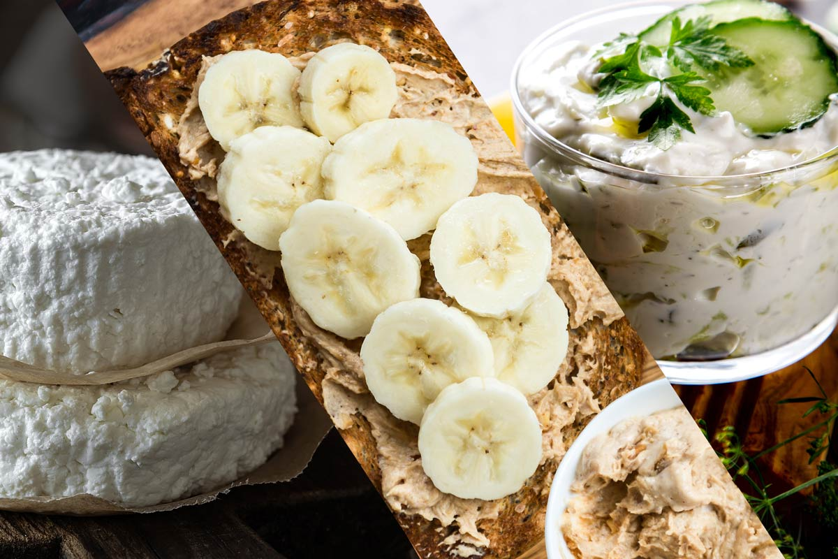 Ricotta cheese, peanut butter and banana, and tzatziki
