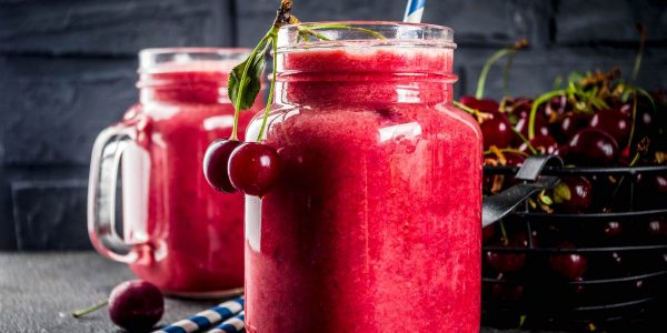 Cherry and yogurt smoothies