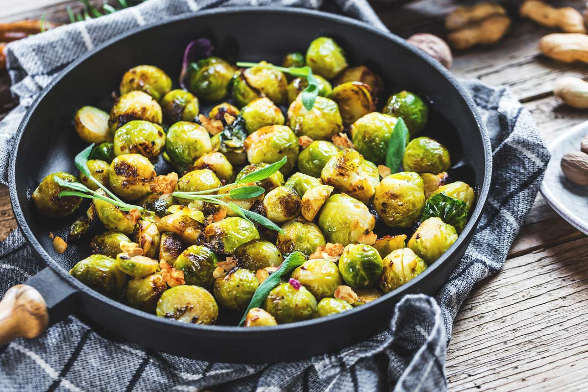 brussellls sprouts healthy dish in pan