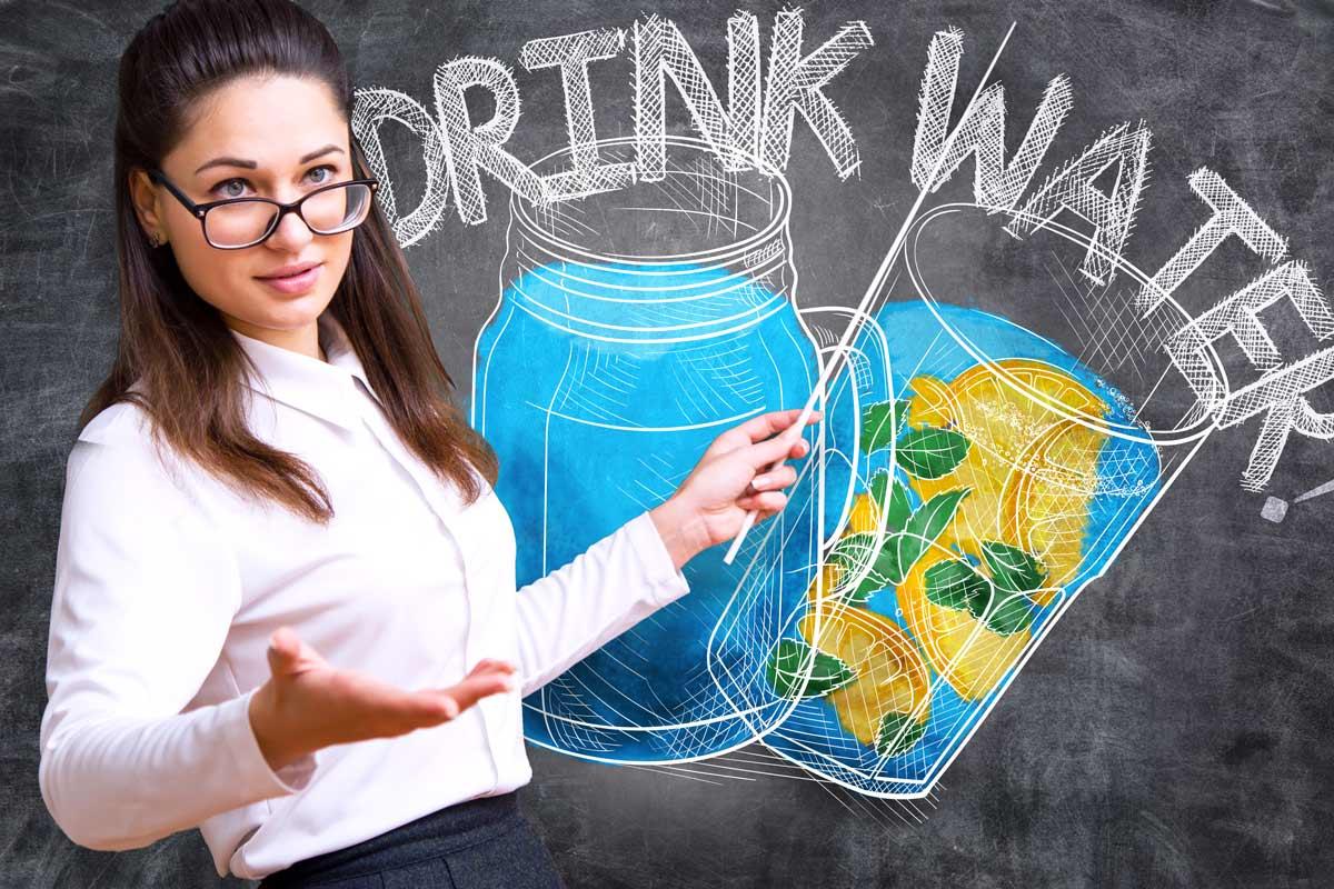 teacher telling people to drink more water