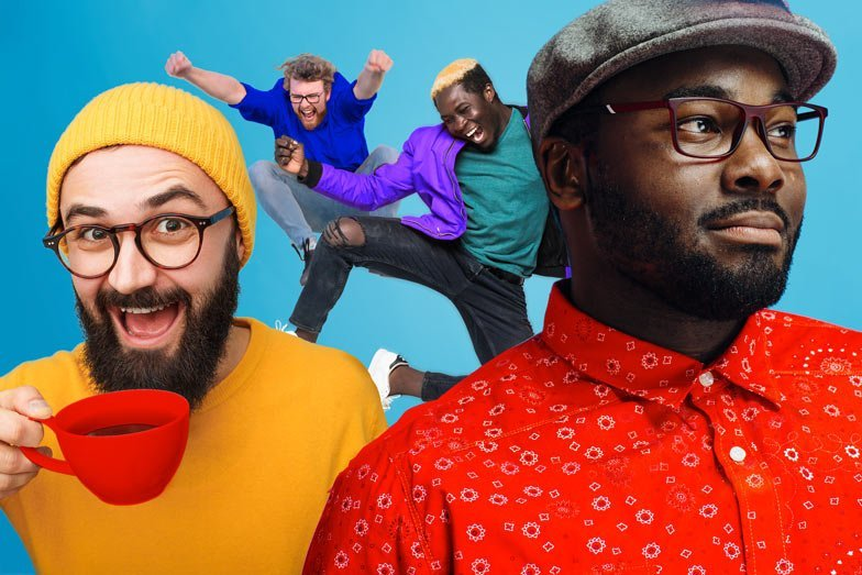 A group of colourfully dressed guys messing around