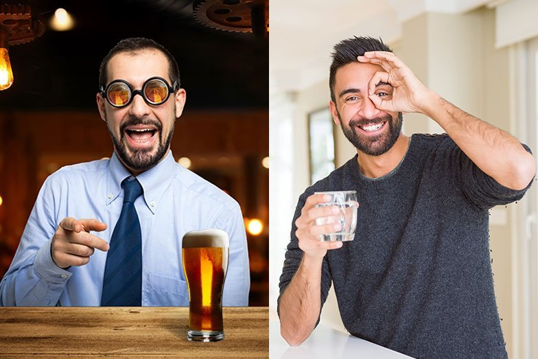 Guy drinking beer with beer goggles and another guy drinking water