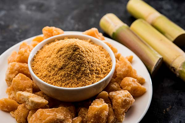 Organic gur or jaggery powder is unrefined sugar from concentrated sugarcane juice