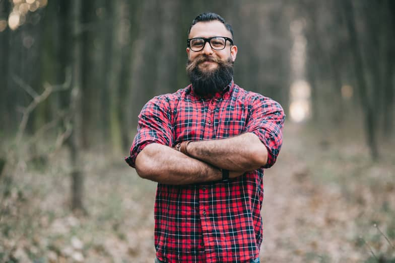 Man wearing red plaid shirt