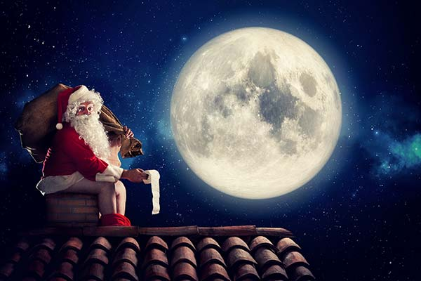 Santa Claus pooping on the chimney
