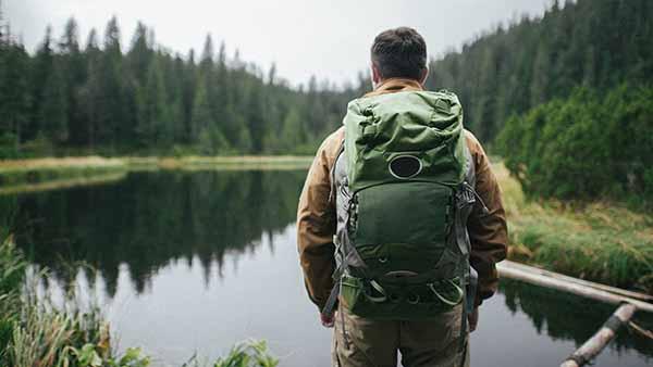 Man hiking stress free