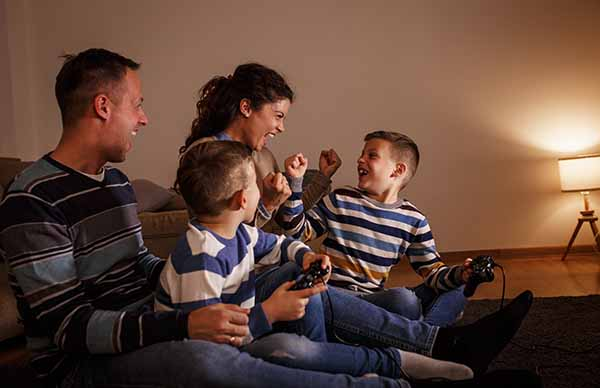 Family laughing together