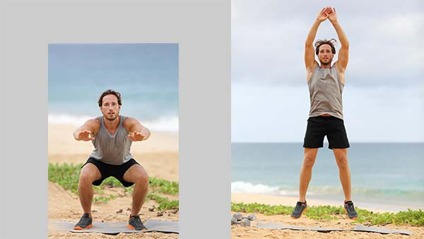 Man doing jump squats