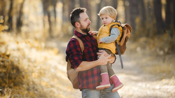 Rural dad with toddler